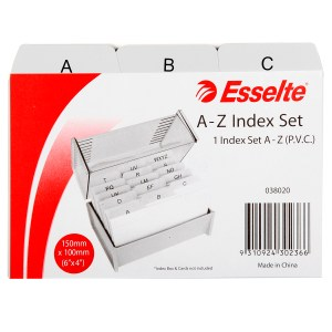 ESSELTE INDICES A-Z PVC 152X102MM (6X4) GREY