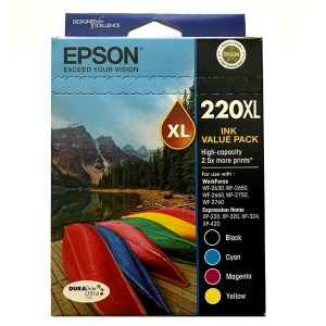 Epson 220XL Black and Colour Cartridges Inks Value Pack