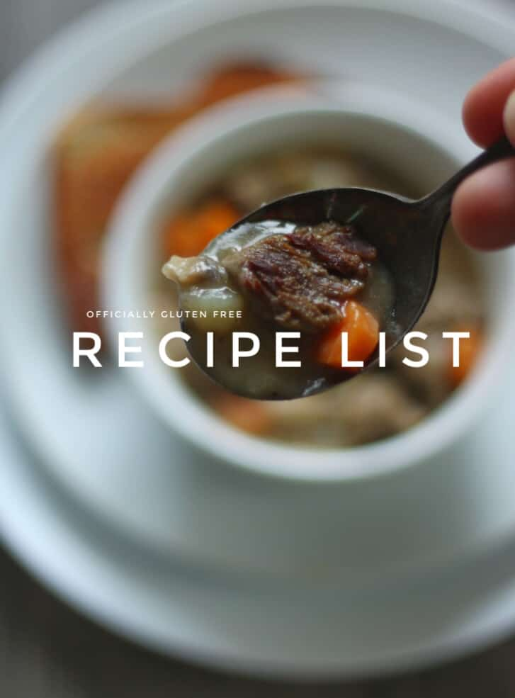 Gluten Free Recipe List