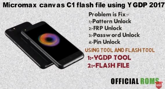 Micromax canvas C1 flash using by ygdp tool (Update File)