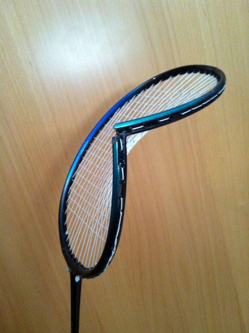Broken badminton racquet