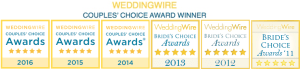 WeddingWire Couples' Choice Award Winner 2016, 2015, 2014, 2013, 2012, 2011