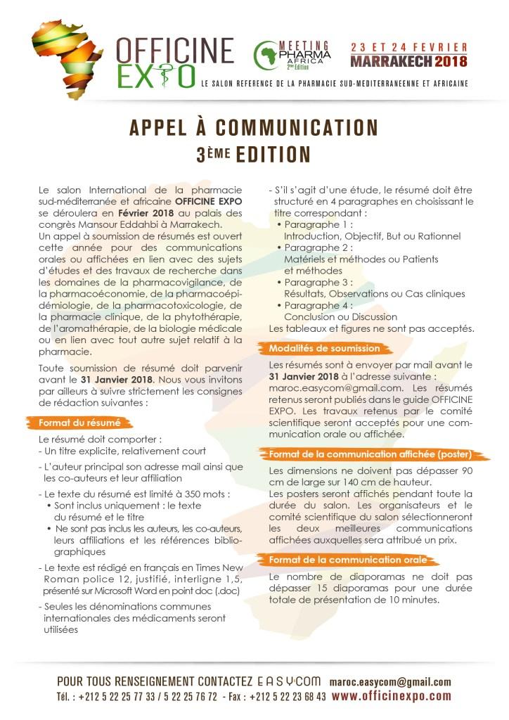 APPEL A COMMUNICATION