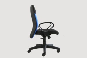 ergonomic mid back office chair black frame black-blue seat castor wheels