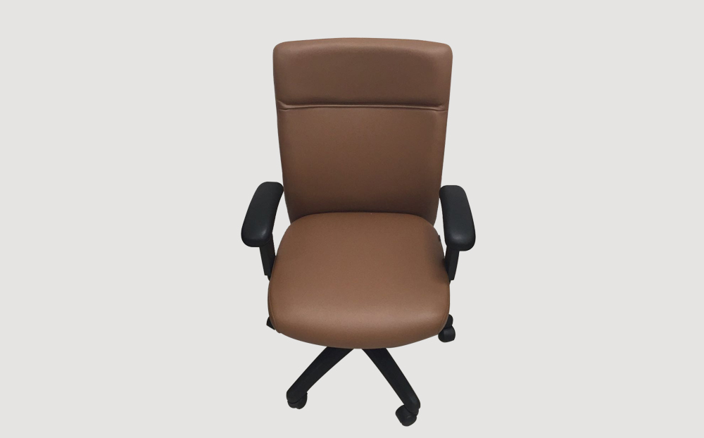 ergonomic mid back office chair PVC black frame brown seat castor wheels