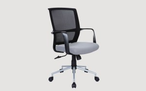 ABBY Black Mesh Back Staff Office Chair with Silver Powder Coated leg base