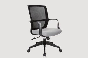 ergonomic mid back office chair mesh back black frame grey seat black castor wheels