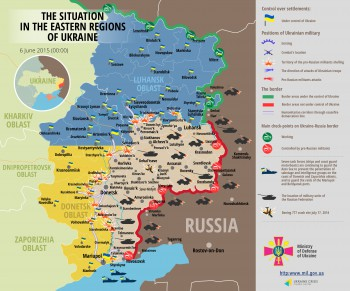 "Situation in der Ostukraine am Samstag, 06. Juni 2015 aus ukrainischer Sicht (Quelle: ""Map developed by Ukrainian Crisis Media Center"", Ukrainisches Verteidigungsministerium, 06.06.2015)."