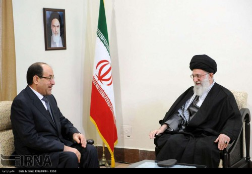 Iranian supreme leader Ali Khamenei meets with Iraqi Prime Minister Nouri Al Maliki in Tehran on Dec. 5, 2013. Islamic Republic News Agency photo