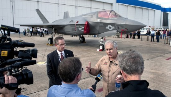 Officials address the media at a stopover during an F-35 delivery flight in 2012. <em>Photo: Lockheed Martin</em>