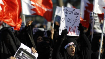 Bahrain 2014: The protests are not over. Tens of thousands mourners marched during the funeral procession for Asma Hussain on February 12, 2014. She died of a heart attack when several masked police stormed her home.
