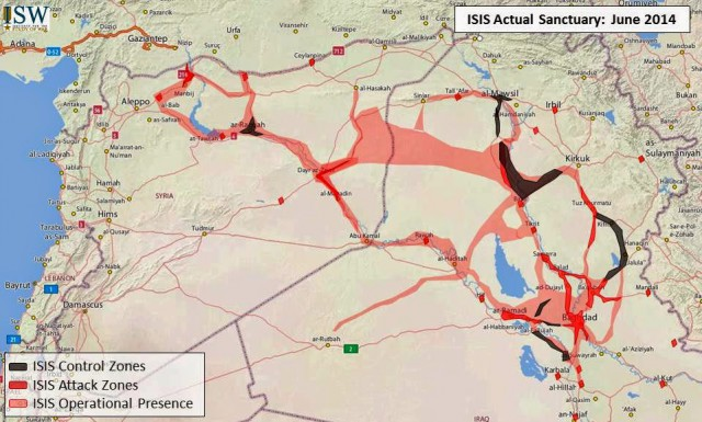 """ISIS: Actual Sanctuary, June 2014 (Source: Jessica Lewis, """"Updated Map of ISIS Sanctuaries in Iraq and Syria"""", Institute for the Study of War, 10.06.2014)."""