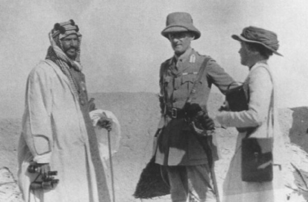 In 1916, three years after Ibn Saud won control of the Arabian Gulf coast, he met with British political officers Sir Percy Cox and Gertrude Bell to strengthen the Saudi-British ties that had been formalized by the Anglo-Treaty the year before (Photo contibuted by Saudi Aramco).