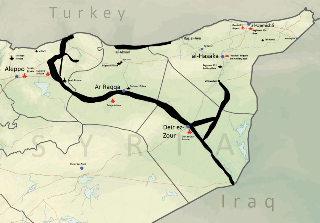 "Military Bases in Syria  and ISIS' advance in Eastern Syria along towns on Euphrates river (Source: Jennifer Cafarella, ""ISIS works to merge its Northern front across Iraq and Syria"", Institute for the Study of War, 09.08.2014)."