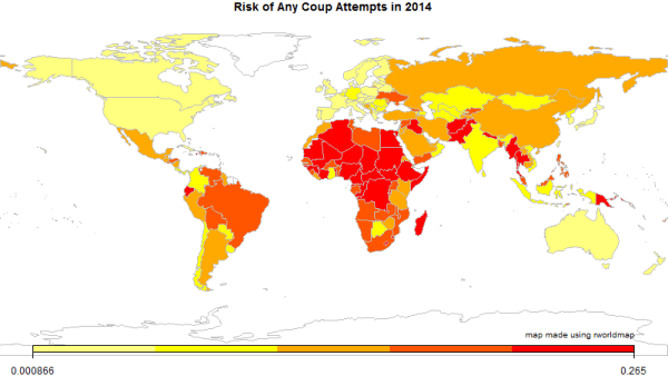 Risk of any coup attempts in 2014 by Jay Ulfelder, January 2014.