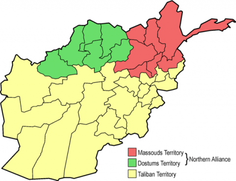 Map of the situation in Afghanistan in 1996: Ahmad Shah Massoud (red), Abdul Rashid Dostum (green) and Taliban (yellow) territories.