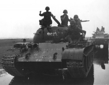 Soldiers from the South Vietnamese Army sit on top of a captured North Vietnamese Army Type 59 tank during the 1972 Easter Offensive (Photo: U.S. Army).
