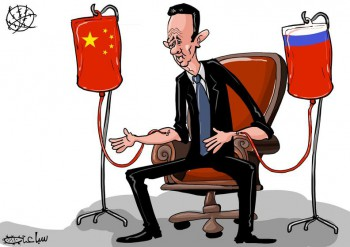 Without Sino-Russian support Assad would be long gone (Cartoon by Mohammad Saba'aneh).