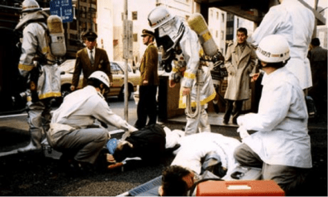The emergency service tend to victims of the Aum Shinrikyo sarin attack on Tokyo's subway in 1995 (Photo: Rex Features).