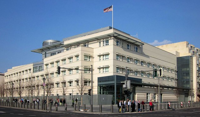"The ""Ugly but safe"" U.S. Embassy in Berlin. Notice the line of bollard on the side-walk in front of the embassy."