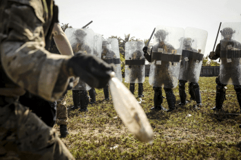 Riot control exercise in Nigeria with U.S. Marines (Photo: Marine Corps).