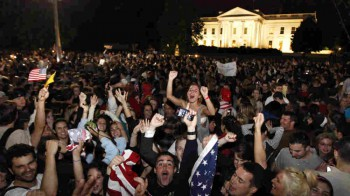 In May 2011, a crowd gathered outside the White House to celebrate President Obama's announcement that U.S. forces killed Osama bin Laden.