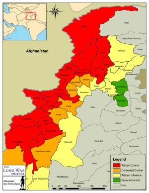Taliban presence, by district and tribal agency, in the Northwest Frontier Province, Punjab, and the Federally Administered Tribal Agencies. (Map created by Bill Raymond for The Long War Journal, 24.04.2009)
