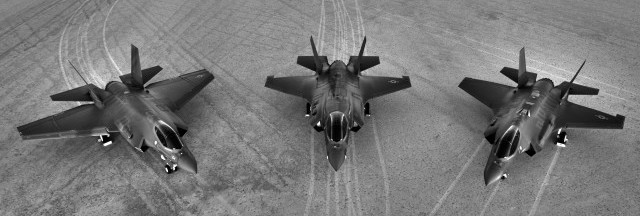 All three F-35 variants: The F-35A on the right side is the conventional takeoff and landing (CTOL) variant intended for the U.S. Air Force and other air forces. The F-35B in the middle is the short takeoff and vertical landing (STOVL) variant of the aircraft. The F-35C carrier variant on the left side features larger wings with foldable wingtip sections, larger wing and tail control surfaces for improved low-speed control, stronger landing gear for the stresses of carrier arrested landings, a twin-wheel nose gear, and a stronger tailhook for use with carrier arrestor cables. This variant is intended for the U.S. Navy and the U.S. Marine Corps.