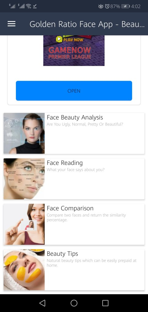 Screenshot of Perfect Face Ratio App