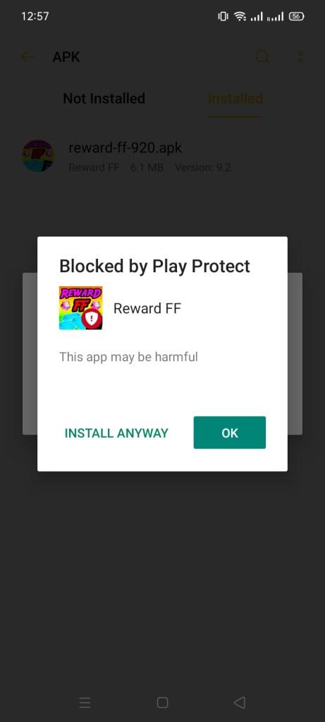 Screenshot of Reward FF App