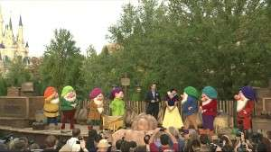 Snow White is called in to do the honors - Orlando Fun and Food