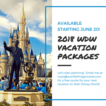 2018 Walt Disney World Vacation Packages Available TODAY!