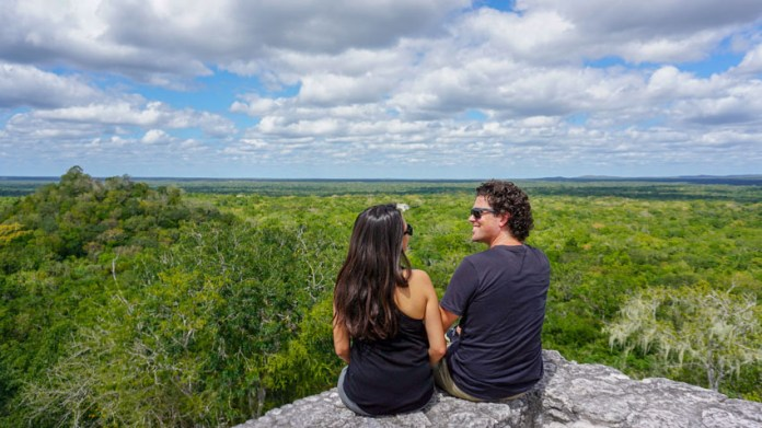 Kristina and Michael from Off Path Travels on top of Structure 1 in Calakmul Campeche