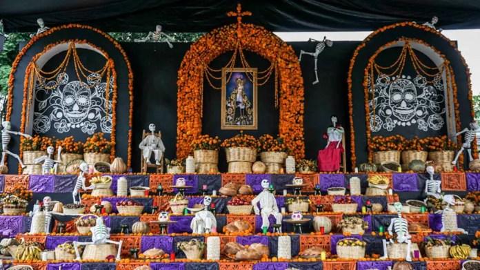 El Zocalo altar for Dia de Muertos in Oaxaca, Mexico