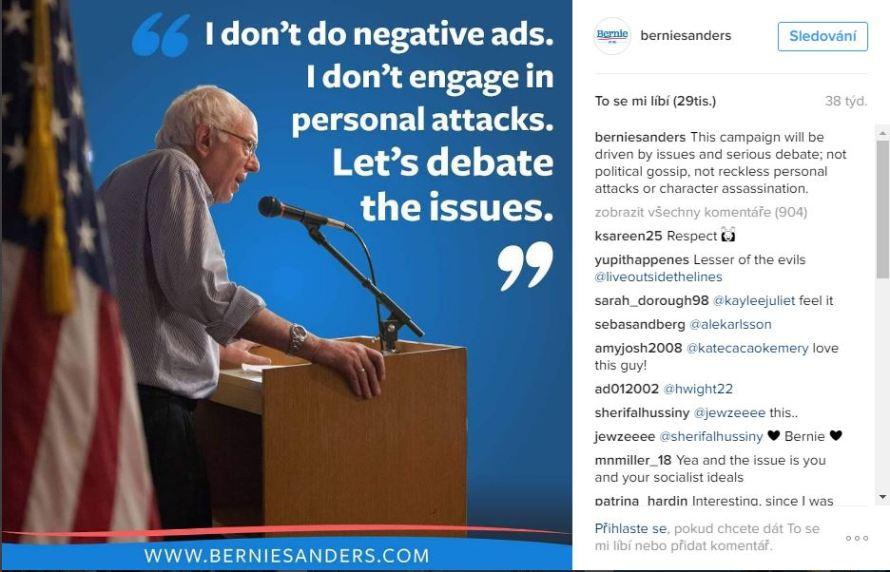 Předvolební kampaň Sanderse, zdroj: Instagram.com, instagram.com, @berniesanders