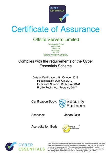 Cyber Essentials Certificate