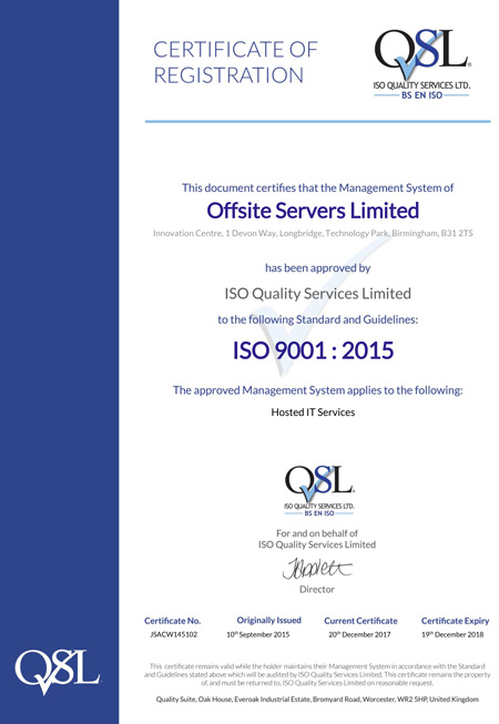 ISO 9001:2015 9001 Certificate