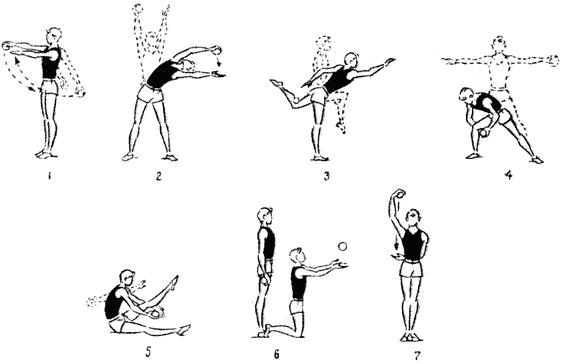Упражнения с малым мячом для мальчиков 9—10 лет (3—4-е ...
