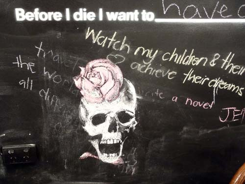 Before I Die wall skull