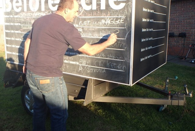Our Before I Die structure in mobile 4-sided trailer mode