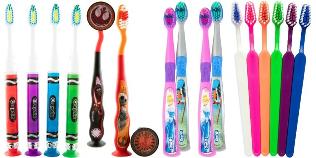 A variety of children's toothbrushes