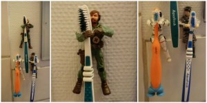 geeky action figure toothbrush holder
