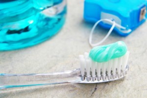 toothbrush and floss closeup