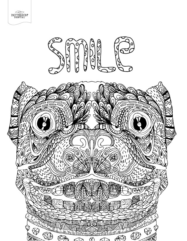 Smiling dog coloring page from Patterson Dental
