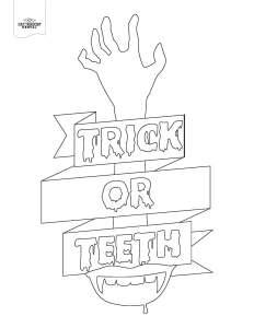 Trick or teeth coloring page
