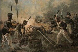 soldiers firing a cannon painting