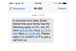 revenuewell text appointment reminder example
