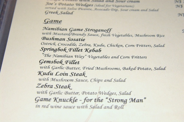 Game meat menu