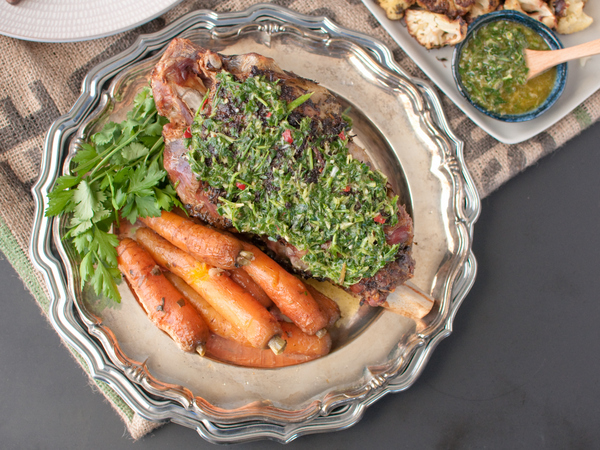 Roast goat leg with chimichurri