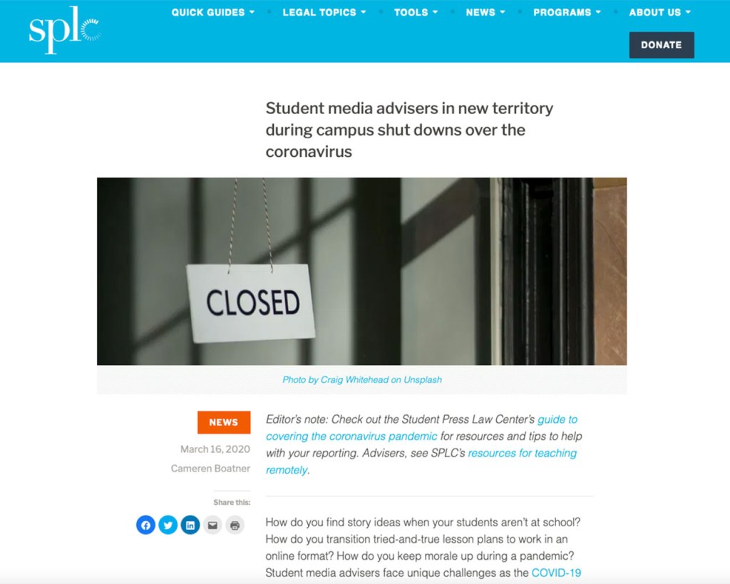 Screenshot of article published by the Student Press Law Center on 3-16-20